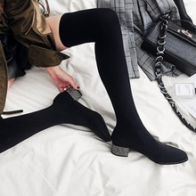 MLJUESE 2019 women over the knee boots stretch fabric high heels autumn spring high boots socks boots party dress size 34-43