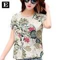Fêmea Mulheres T-shirt tamanho grande roupas femininas Moda Verão Impresso T-shirt de Algodão Feminino 2016 Top Venda