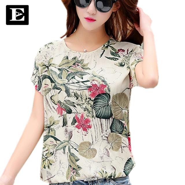 Mujeres femeninas de La Camiseta mujeres de gran tamaño de ropa de Moda de Verano Impreso Mujeres Camiseta de Algodón 2016 Más Vendido