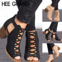 HEE GRAND 2018 New Women Thick Heel Pumps  Sexy Style Women Peep Toe Pumps Flock Leather Spring Shoes with Zipper Pumps WXG564