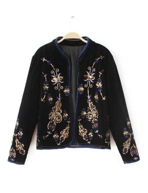 2016 осень и зима новые блестки вышитые бисером бархатная куртка открыть стежка пальто женщин