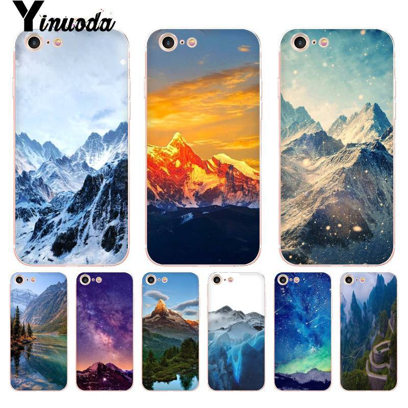 Yinuoda For Iphone 7 6 X Case Snowy Mountain Clouds Sea Landscape Transparent Phone Case For Iphone 8 7 6 6s Plus X 10 5 5s Se