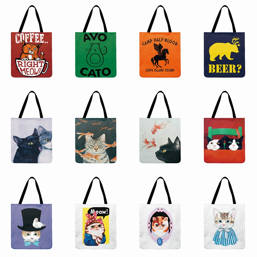 Reusable Shopping Bag Cartoon Meow Illustration Printed Casual Tote Linen Fabric Tote Bag For Women Fashion Beach Bag