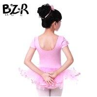 Children dance clothes Korean princess dress veil embroidered cotton short-sleeved pink practice one piece skirt with underwear