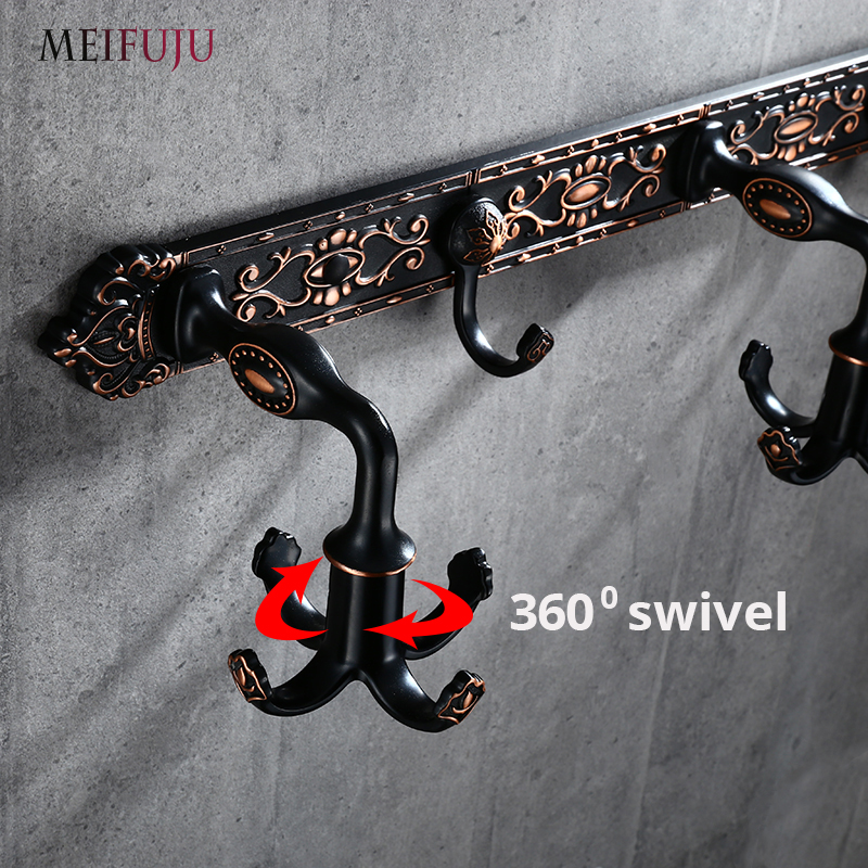 MEIFUJU 360 degree swivel wall hook modern balck robe hook bathroom hook vintage antique coat hooks hanger towel hanger bathroom ys169 360 degree rotational hanging hook black silver