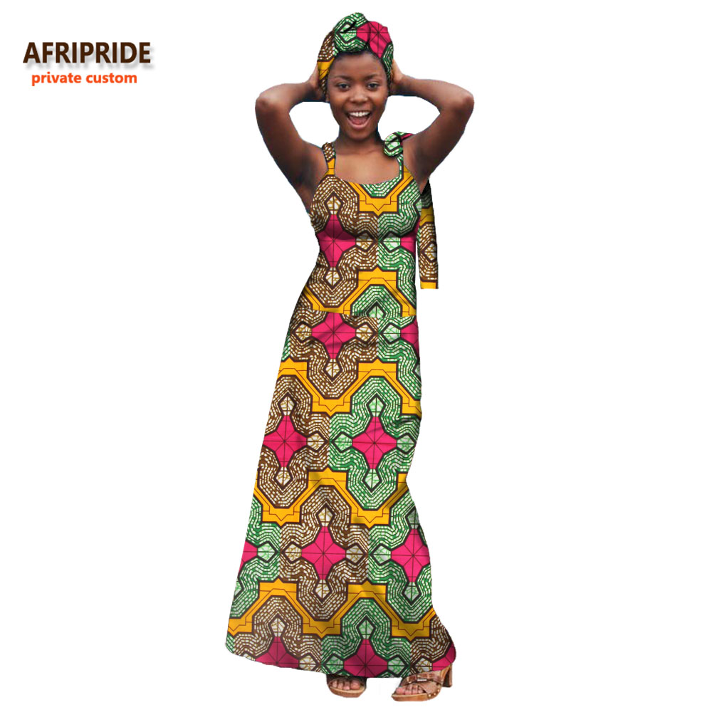 2018 casual afrikaanse jurk voor vrouwen AFRIPRIDE prive custom mouwloze enkellange pure katoenen jurk met hoofddoek A7225103-in Jurken van Dames Kleding op  Groep 1