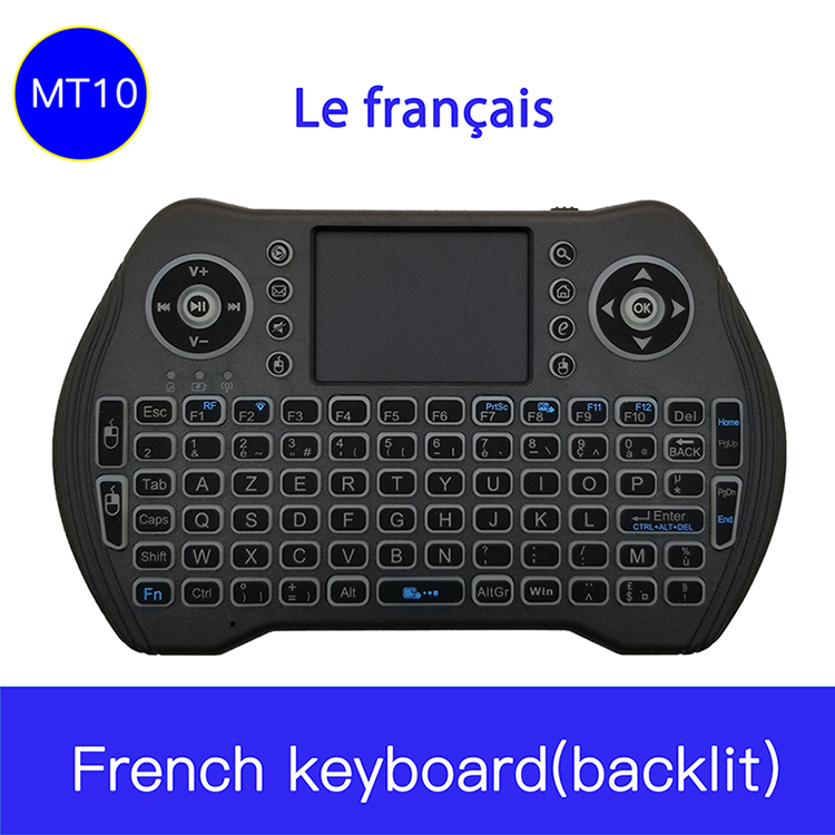 MT10 French RGB Backlit 2.4G Mini Wireless Français Keyboard TouchPad Mouse For Google Android TV Box, Mini PC, Laptop AZERTY