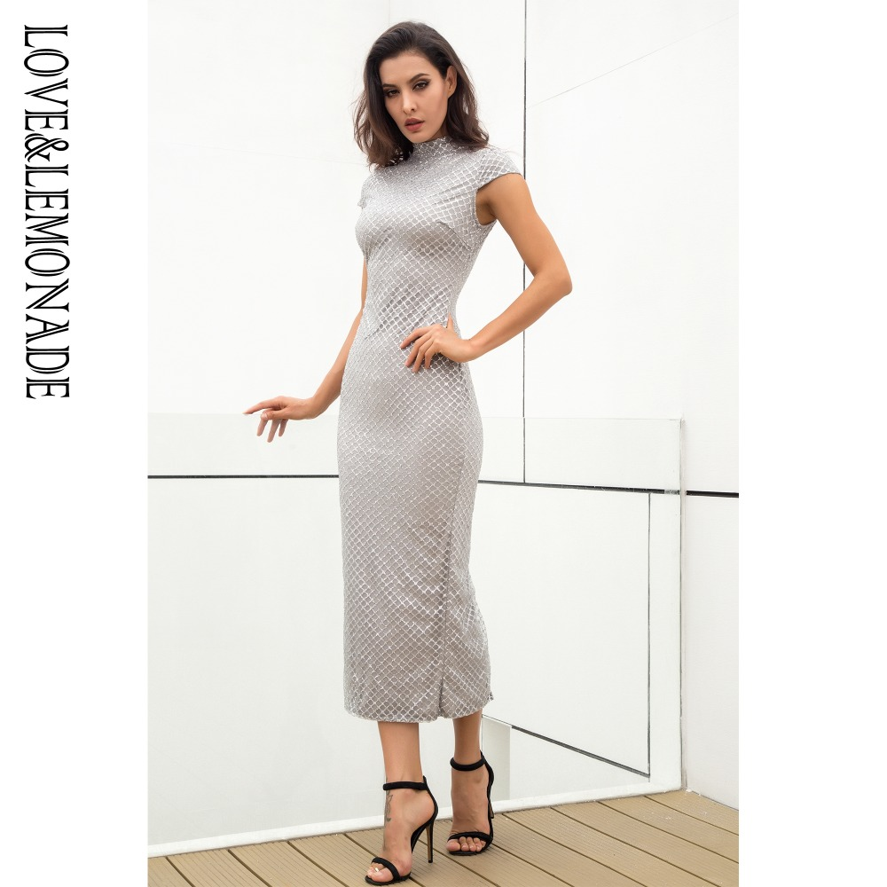 Love Lemonade Stand Up Plaid Gillter Material Slim Party Dress 2 Colors LM0881