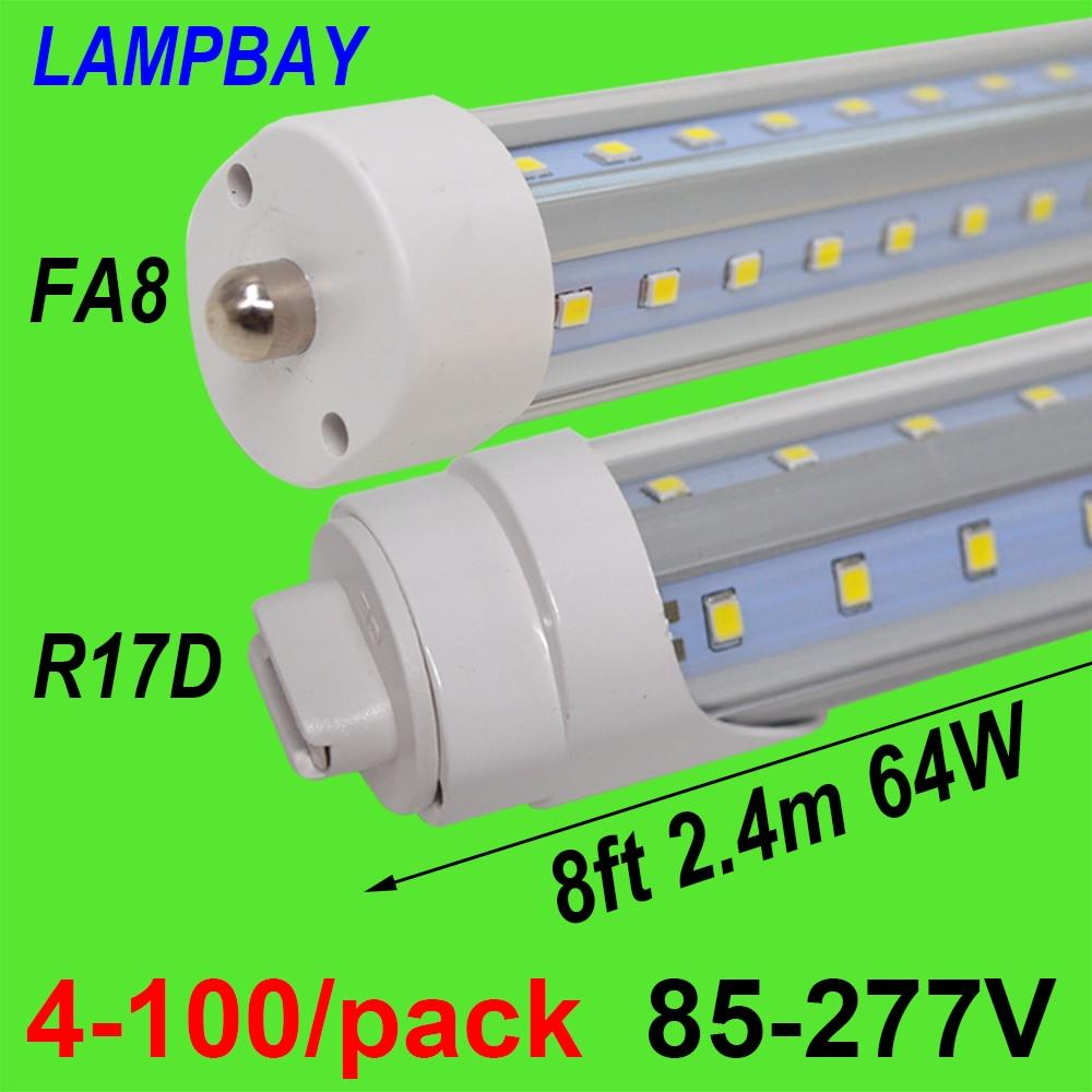 Us 88 0 4 100 Pack Led Tube Lights V Shaped 270 Angel Bulb 8 Feet 2 4m 48w 64w Fa8 R17d Ho T8 T12 F96 Fluorescent Lamp Super Bright In Led Bulbs