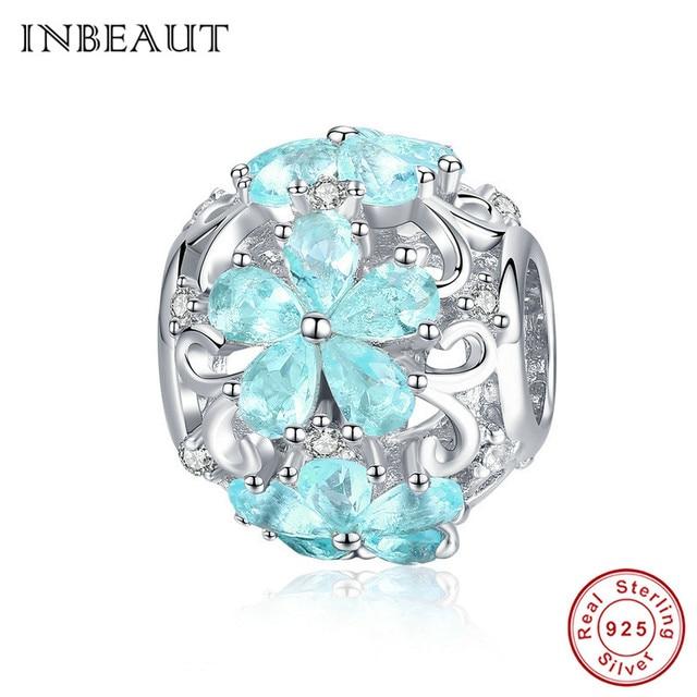 INBEAUT 100% Plata de Ley 925 auténtica OCéANO AZUL agua copo de nieve tallada perlas encanto marca pulsera de joyería