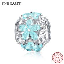 INBEAUT 100% prawdziwe 925 Sterling Silver Ocean niebieska woda Snowflake rzeźbione wisiorek z koralikami fit marka bransoletka zima tworzenia biżuterii