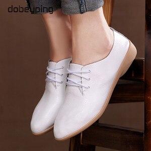 Image 5 - حذاء راقصة البالية غير رسمي النساء 100% جلد طبيعي المرأة المتسكعون الدانتيل متابعة امرأة حذاء مسطح البازلاء مرنة الأحذية حجم كبير 35 44