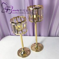 Crystal Hurricane candle holders and candlesticks around the gold trumpet vase SET OF 2