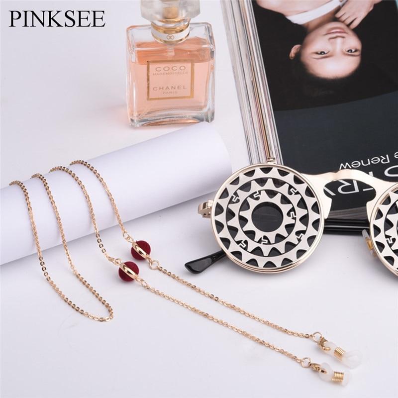 Yunso Light Luxury Gold Eyeglass Chain Sunglasses Lanyard Adjustable Neck Strap Cord Eyeglass Chain Neck Holder Women Green Stones