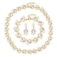 Gold Chain Imitation Pearl Austrian Crystal Pendant Necklace Bracelet Earrings Set Wedding Jewelry Sets For Women Party Gift 2018 new arrival exaggerated big necklace and earrings jewelry sets austrian crystal for wedding or party ethnic free shipping