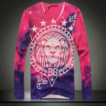 2014 New Autumn 2015 Spring Plus Size 3XL Red Mens Lion King Print Fashion Long Sleeve T Shirts Men Thin Sweaters Drop Shipping