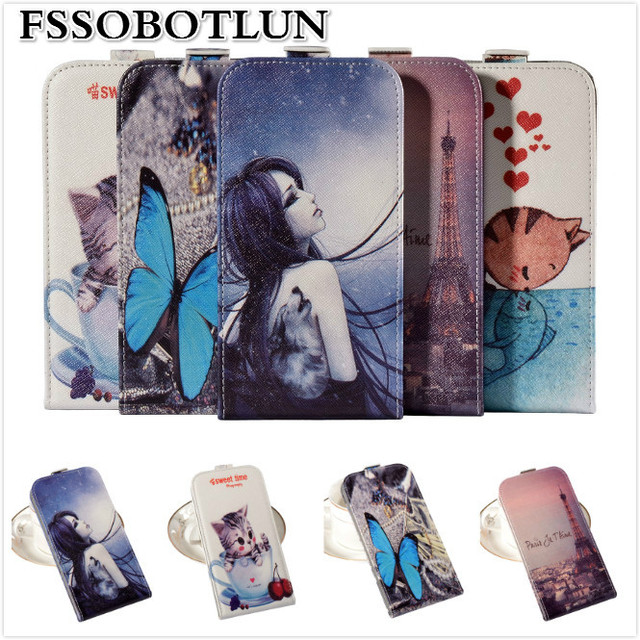 Factory price,Top quality Cartoon Painting Vertical flip PU leather mobile phone bag case For Micromax Canvas Fire 3 A107