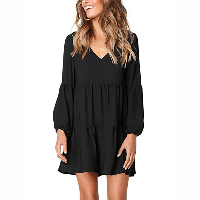 Draped 2018 Autumn Winter Dress Fashion Women Casual Loose Elegance Dress Long Sleeve V-Neck Sexy Black Wine Red Dress Vestidos 1
