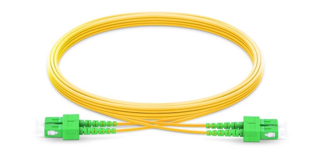 FirstFiber 2 M SC APC   2 Cores G657A Duplex Fiber Patch Cable, Fiber Jumper, Patch Cord 2.0mm PVC OS2 SM Bend Insensitive
