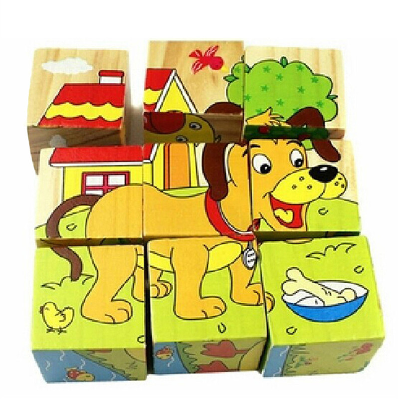 New wooden Cartoon Puzzles Toy 3D Building Children Early Education Teaching cartoon animals puzzles table kids games