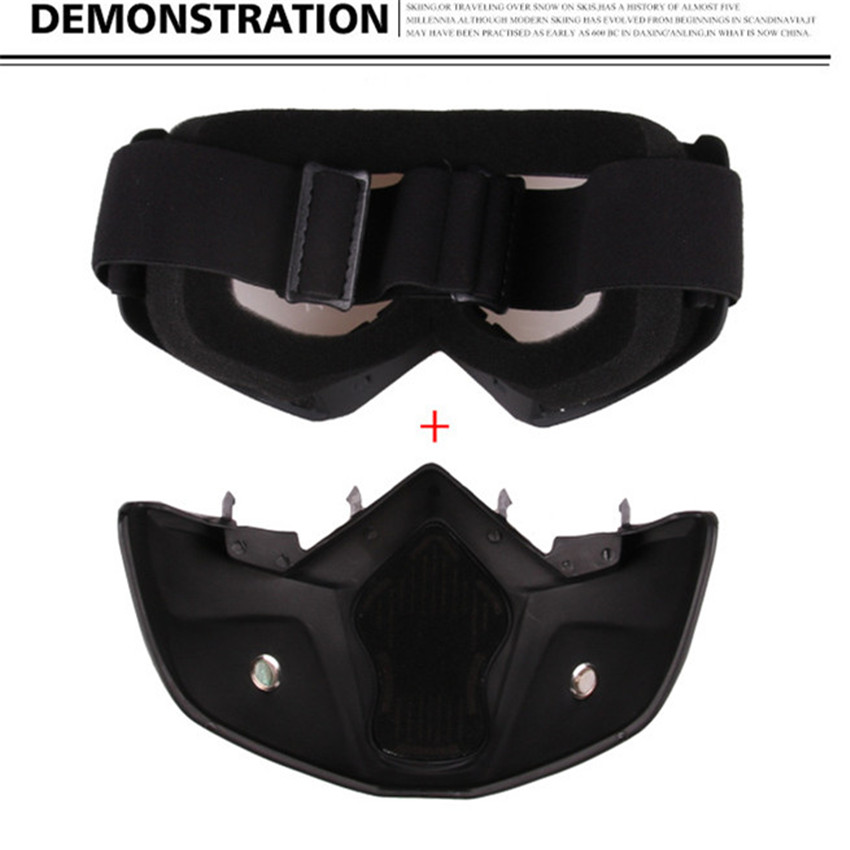 FREE SHIPPING Motorcycle Goggles with Detachable Mask Mouth Filter Harley Style Protect Padding Helmet Sunglasses 5 Colors in Motorcycle Glasses from Automobiles Motorcycles