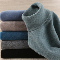 Men Sweater 100% Pure Wool Knitted Pullover Winter New Arrival Fashion Turtleneck Jumepr Man Thick Clothes Tops 8Colors Sweaters