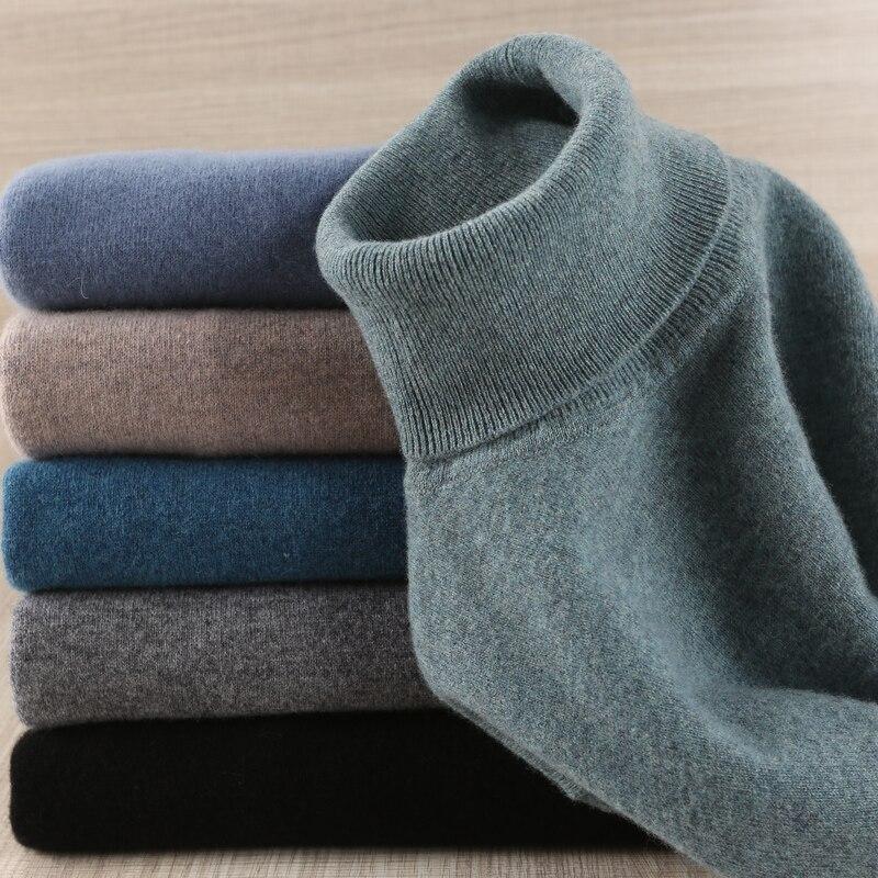 Hommes chandail 100% Pure laine tricoté pull hiver nouveauté mode col roulé Jumepr homme épais vêtements hauts 8 couleurs chandails