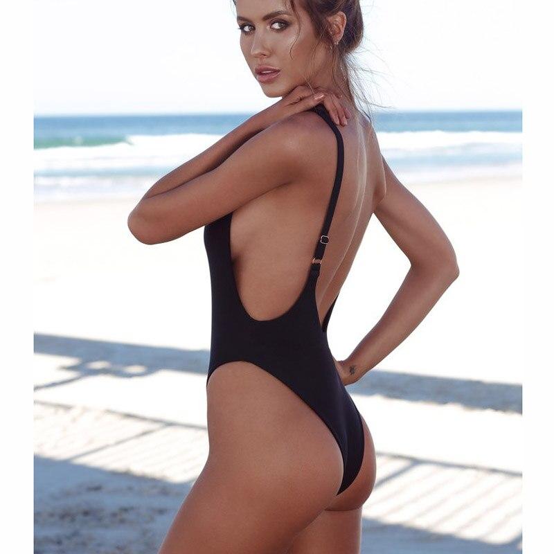 Thong 2018 Sexy One Piece Swimsuit Solid Female Black Swimwear Women Backless White Brazilian Monokini Bathing Suit XL 1