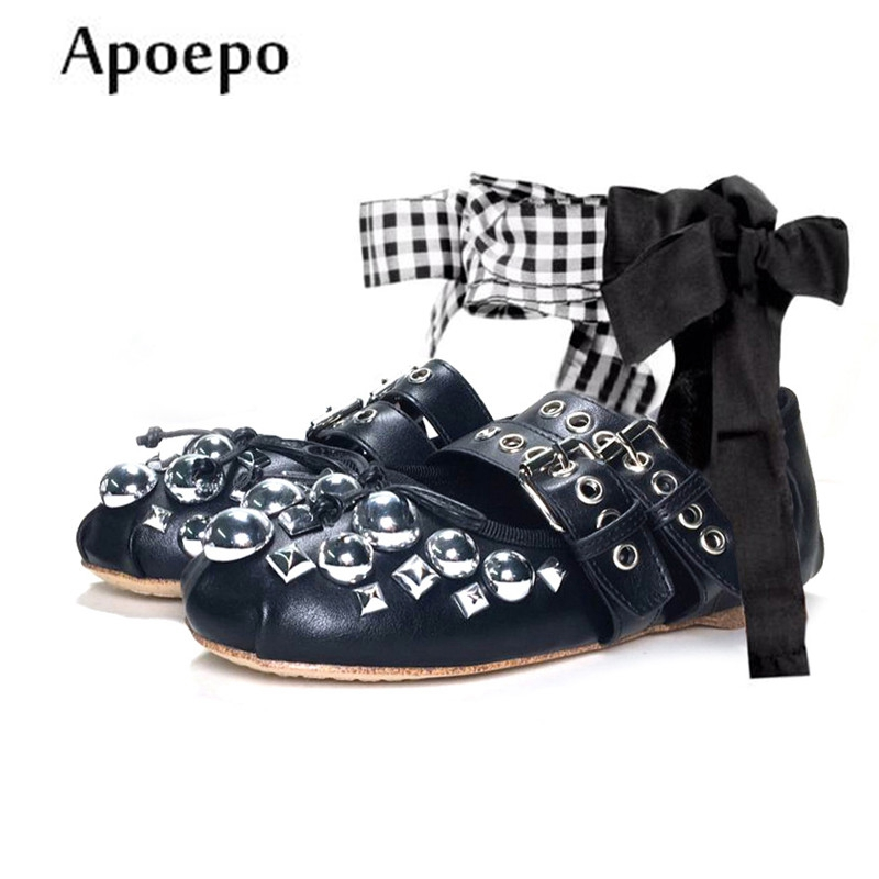 Apopeo Fashion Butterfly-knot Decorations Ballet Flats Spring Leather Rivets studded flat shoes Woman round toe casual shoes 100pcs lot 6colors 12mm round spikes fashion pop rivets stud hardware w screw for bags shoes wallets belts