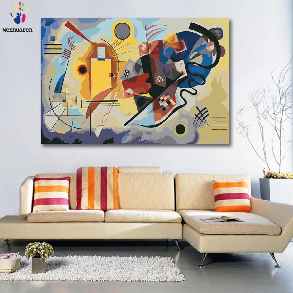 DIY colorings pictures by numbers with colors Kandinsky Abstract Geometry picture drawing painting by numbers framed Home
