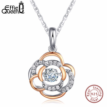 Effie Queen Flower Necklace Women Real 925 Sterling Silver Necklaces for Women Luxury Crystal Pendant Jewelry BN12