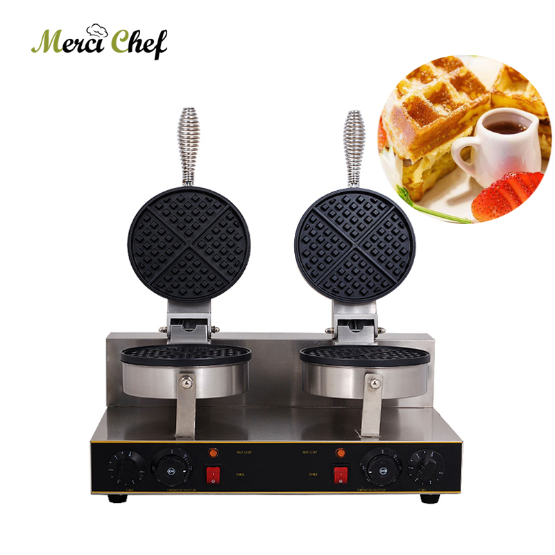 Fast Shipping Electric Waffle maker Double heads Waffle machine Non-stick waffle grill 220V Food Machine for household directly factory price commercial electric double head egg waffle maker for round waffle and rectangle waffle