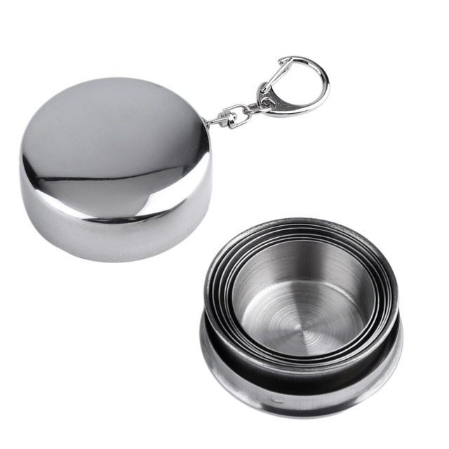 1Pc 75ml Stainless Steel Camping Folding Cup Traveling Outdoor Camping Hiking Mug Portable Collapsible Foldable Cup Bottle