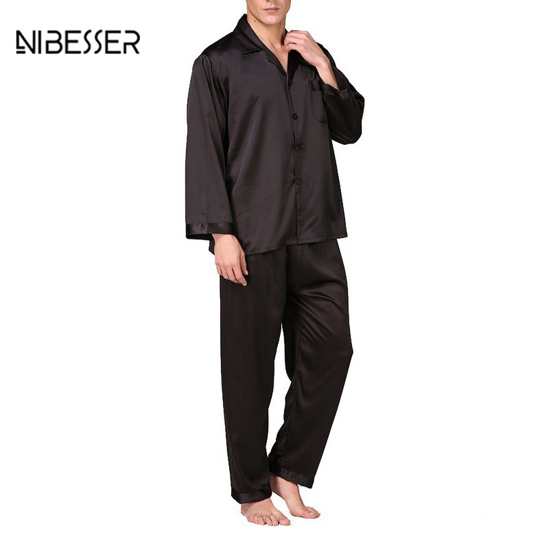 NIBESSER Men's Spring Autumn And Summer Classic Pajamas Pajama Set Men's Long Sleeve Silk Solid Color Large Size Home Service