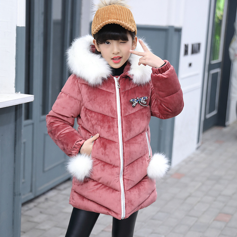 Fur Hooded Girls Winter Coats Jackets Outwear Warm Long Down Jacket Kids Girls Clothes Children Parkas Baby Girls Clothing