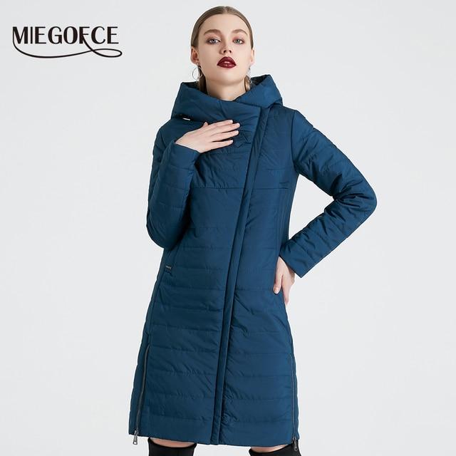 MIEGOFCE 2020 אביב נשים מעיל עם עקומת רוכסן נשים מעיל גבוהה איכות דק כותנה מרופדת מעיל נשים של חם Parka מעיל