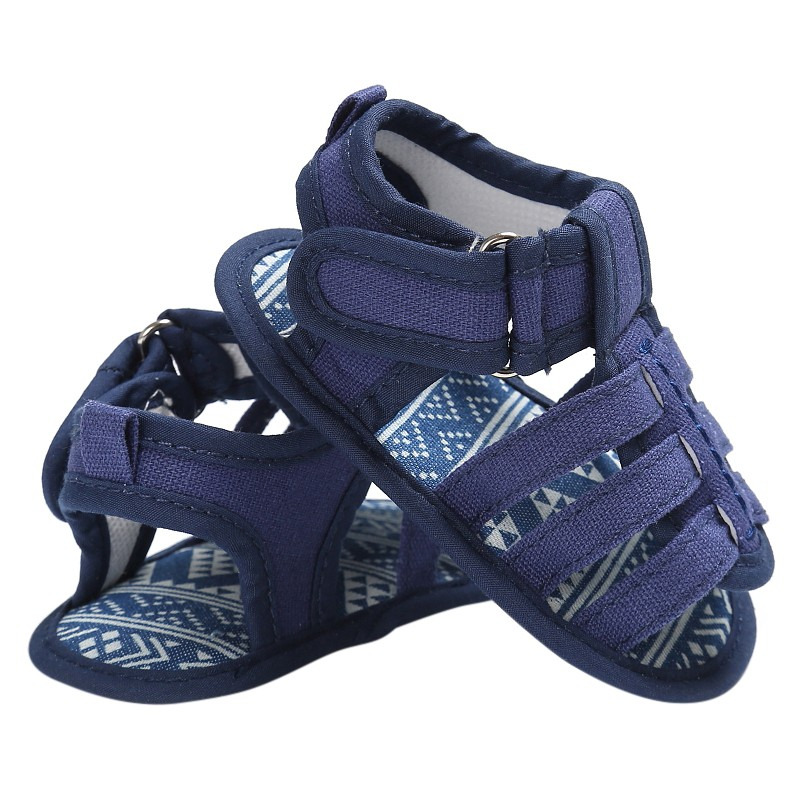 Newborn Baby Shoes Boys Summer Breathable Canvas First Walkers Blue Jeans Anti Slip Moccasins