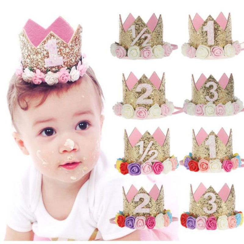 Baby Girl  Headband  First Birthday Decor Flower Party Cap Crown1 2 3 Year Number Priness Style Birthday Hair Accessory
