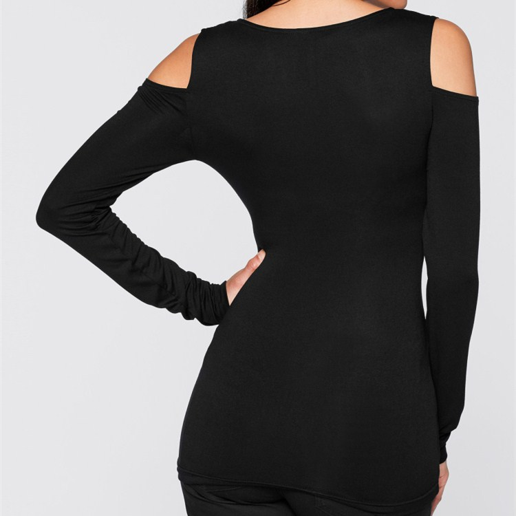 Fashion 2019 Red Green Black Gray Cold Shoulder Slim Tops Solid Women Spring Casual V Neck Long Sleeve Thin T Shirts in T Shirts from Women 39 s Clothing