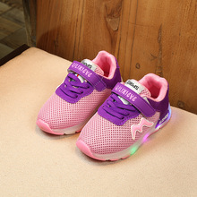 New 2017 Spring/Summer mesh children glowing sneakers LED lighting up Hook&Loop girls boys shoes fashion cute flash kids shoes