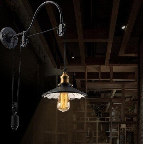 Rétro Loft Style Edison Applique Murale Ascenseur Poulie Luminaires