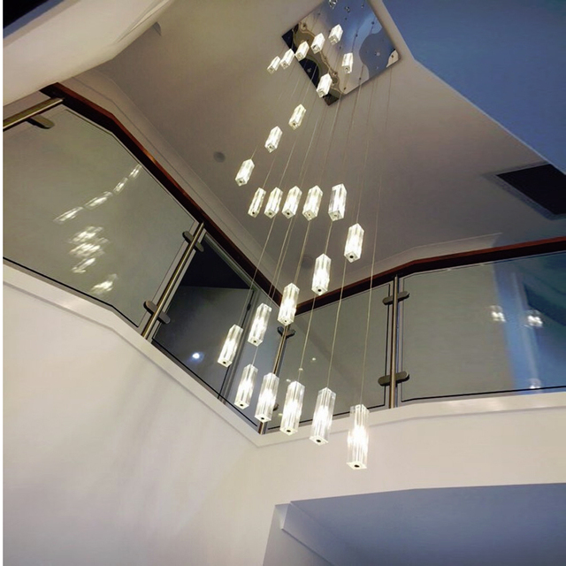 LED Chandelier Lighting Stairwell Double Spiral Chandeliers Modern Chandelier for Living Room Long Stair Chandelier Ladder Light