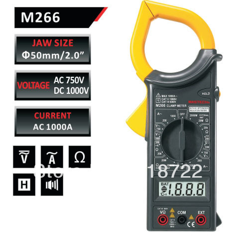 Digital Clamp Meter MASTECH M266 AC/DC Voltage AC Current Resistance Frequency Tester with temperature measurement  цены