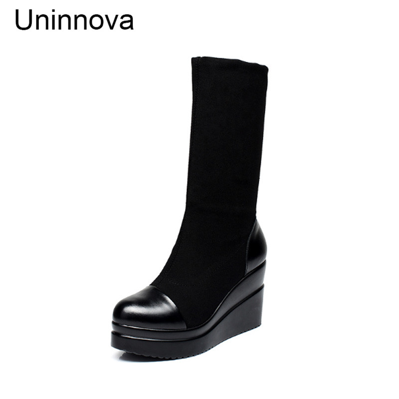 Uninnova Womens Genuine Leather Winter Crystal Wedge Knitted Stretch Sock One Boots for Two Styles 35-40 WB019