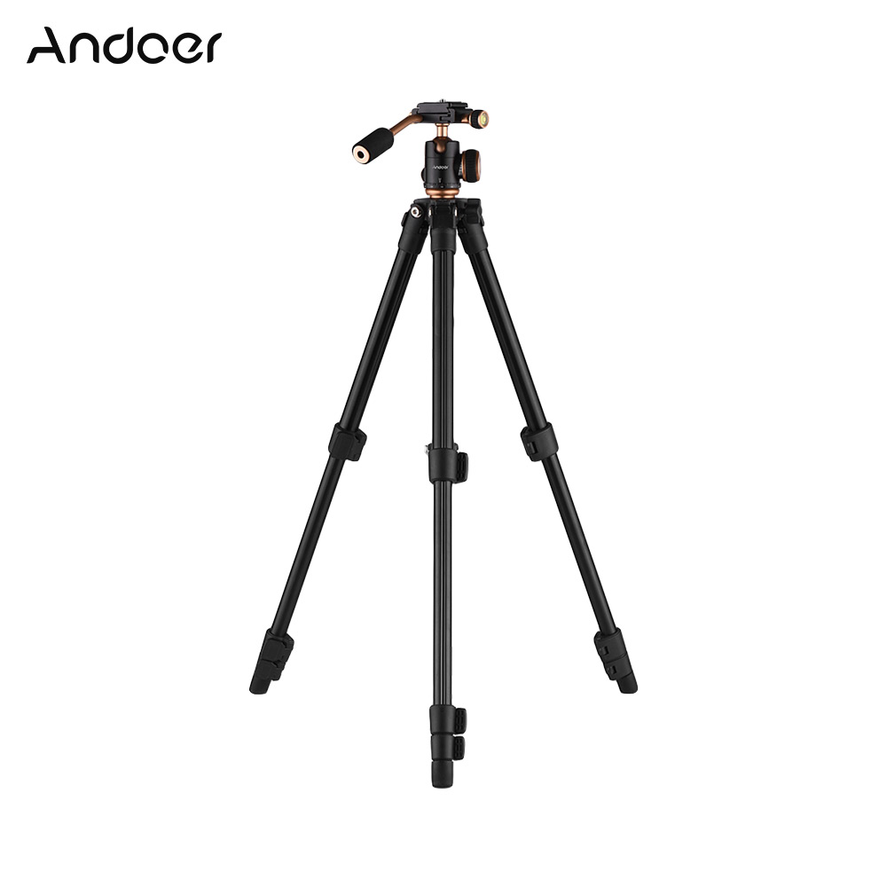 Andoer Camera Tripod Lightweight Travel 3 Section Tripod Flip Buckle Designed for Canon Nikon Sony Pentax