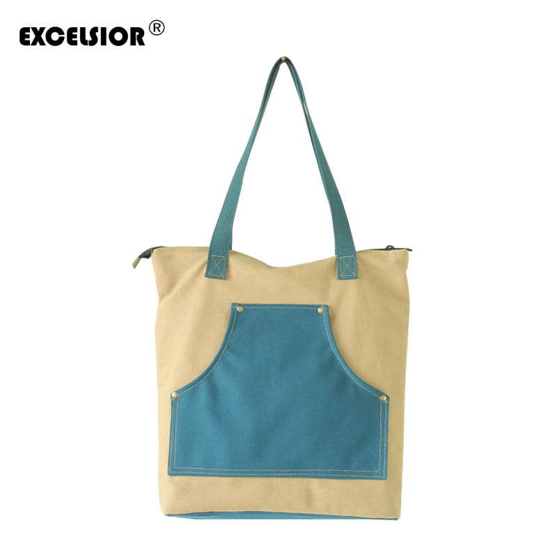 EXCELSIOR 2018 New Women Canvas Handbag Fashion Canvas Patchwork Bag Literary Style Shoulder Strap Dual-use Handbag G1759