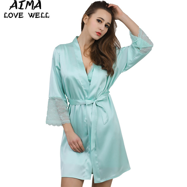 22b90fa83f79 Summer Dress Silk Robe Women s Pajamas Sexy Lace Bathrobe Dressing Gowns  For Women Mantle Lingerie Pajamas And Dathrobes