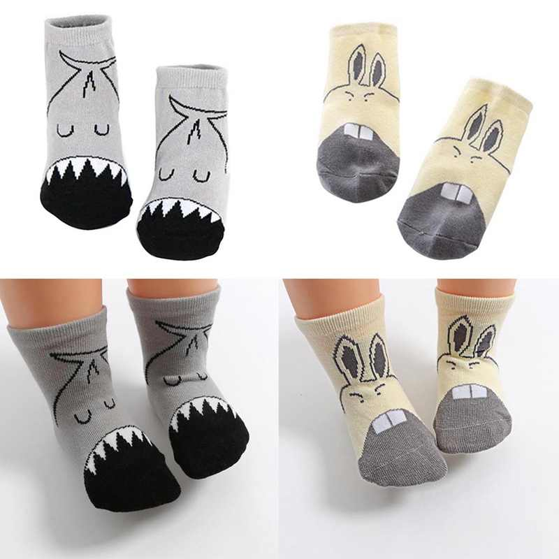 Baby Cotton Blend Socks Anti-slip Children Kids Printed Cartoon Cute Baby Socks Fit for 0-6Y