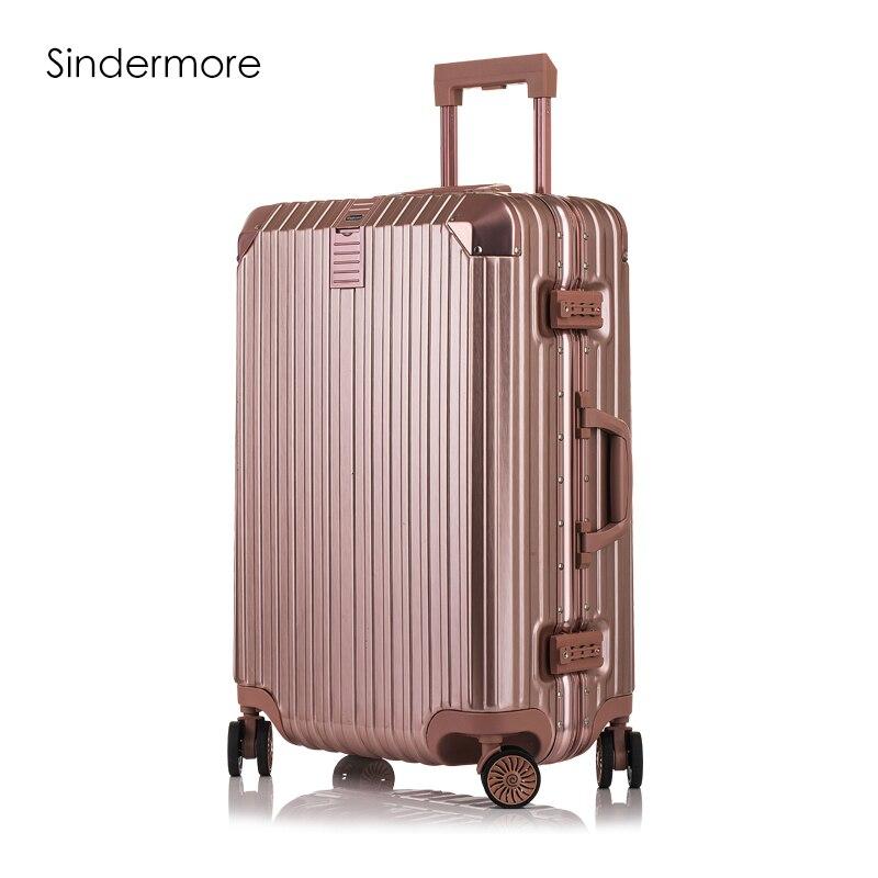 Mode 8-couleur 20 22 24 26 29 cadre en aluminium VS Polycarbonate hardside bagages carry-ons valise bagages bagages à roulettes