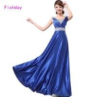 Fishday שמלות ערב כותנות פורמליות רויאל בלו Junior תורכי מיובא דובאי ארוך בתוספת גודל אמא של שמלות הכלה B40